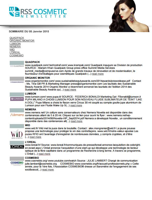 Newsletter rsscosmetic
